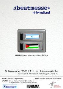 """Flyer """"Israel Palästina: Friede sein mit euch"""""""