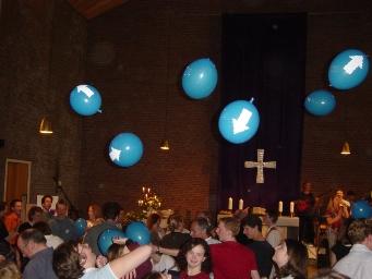 Foto mit Luftballons in der Johanneskirche