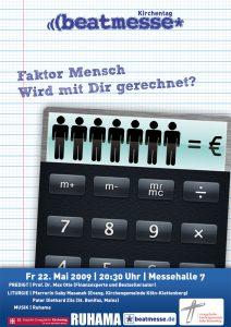 """Flyer Kirchentag """"Faktor Mensch ‒ Wird mit Dir gerechnet?"""""""