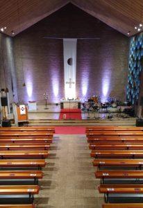 """Johanneskirche mit Dekoration """"Schatten und Licht meiner Seele"""""""