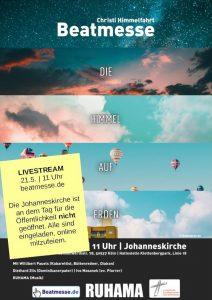 """Flyer """"Die Himmel auf Erden"""" mit Livestream-Postit"""